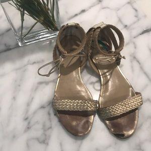 Ann Taylor gold metallic ankle wrap sandals size 9